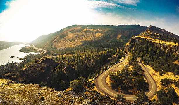 Rowena crest curve road in Oregon Rowena crest curve road in Oregon hood river valley stock pictures, royalty-free photos & images