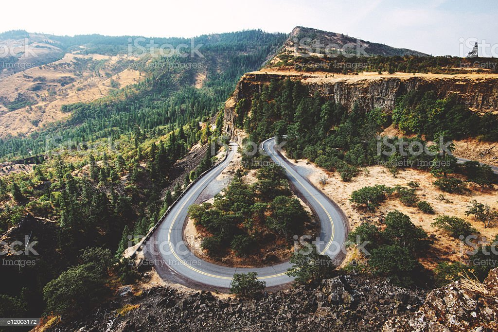 Rowena crest curve road in Oregon stock photo