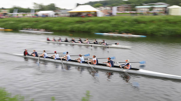 Rowers Competing during the Durham Regatta stock photo