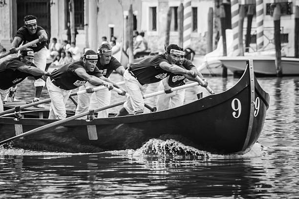 Rowers competing in the annual Regata Storica, Venice stock photo