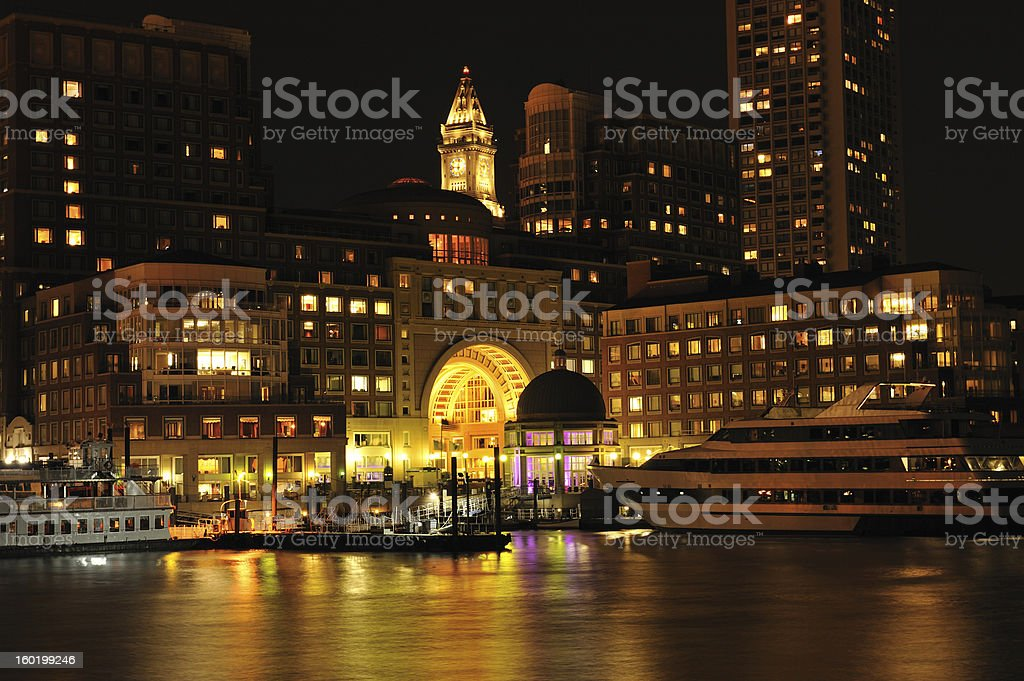 Rowes Wharf at Night stock photo
