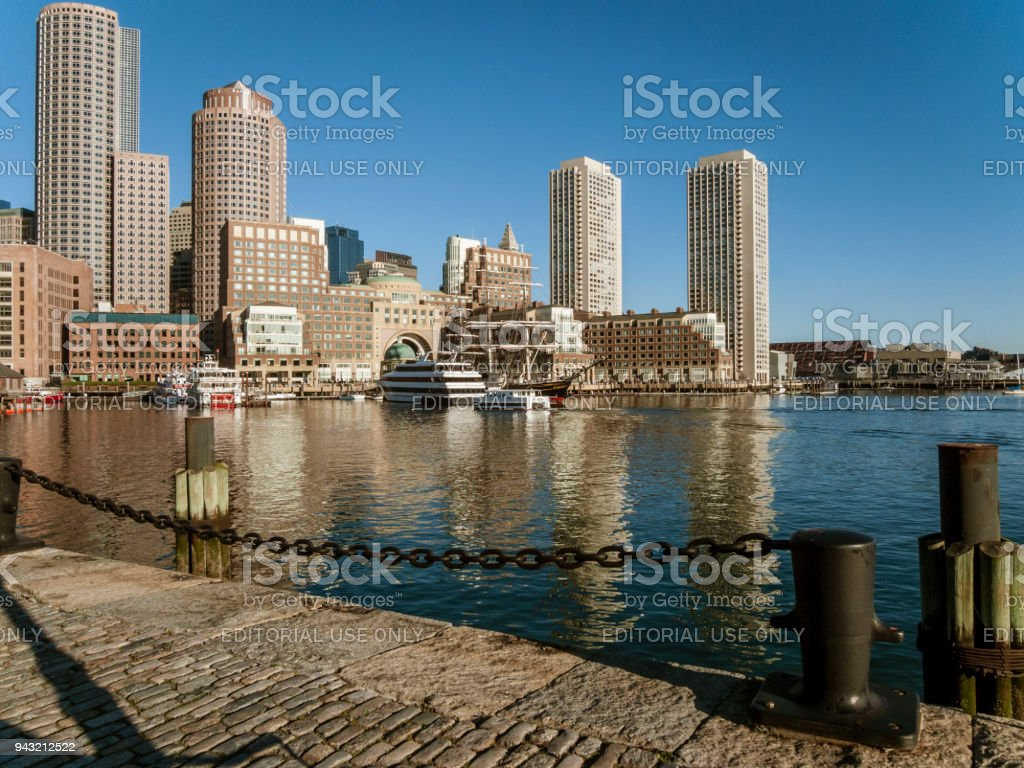 Rowes Wharf from Fan Pier stock photo