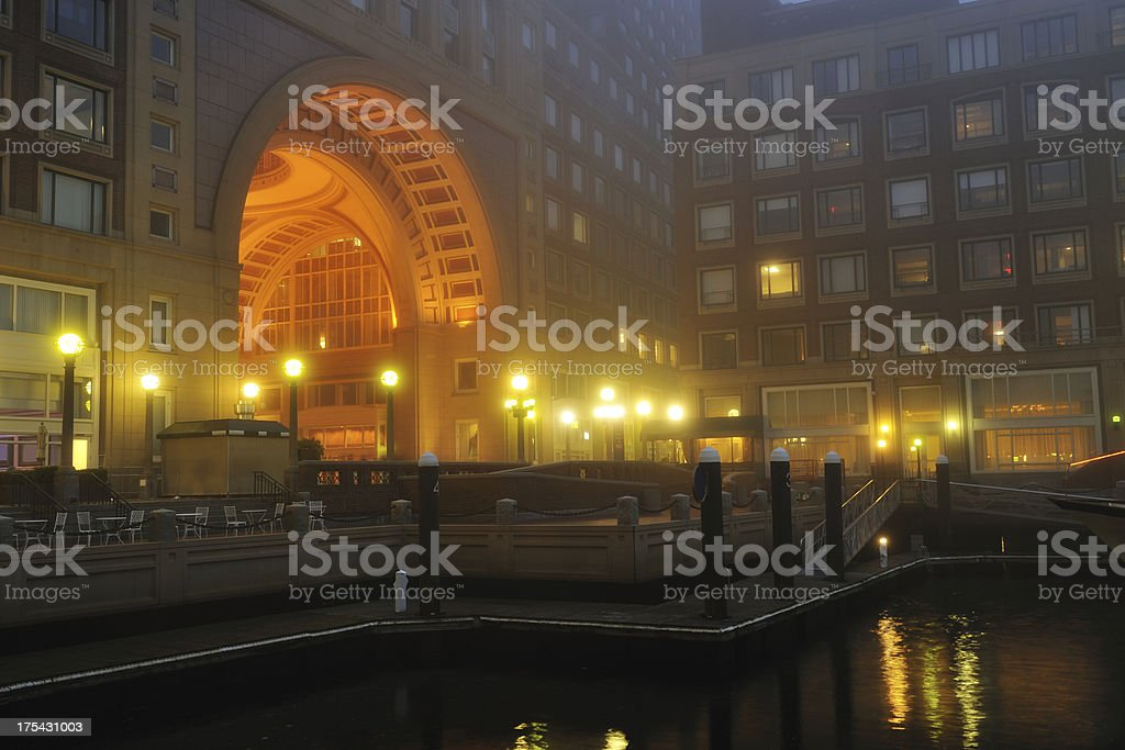Rowes Wharf in Fog stock photo