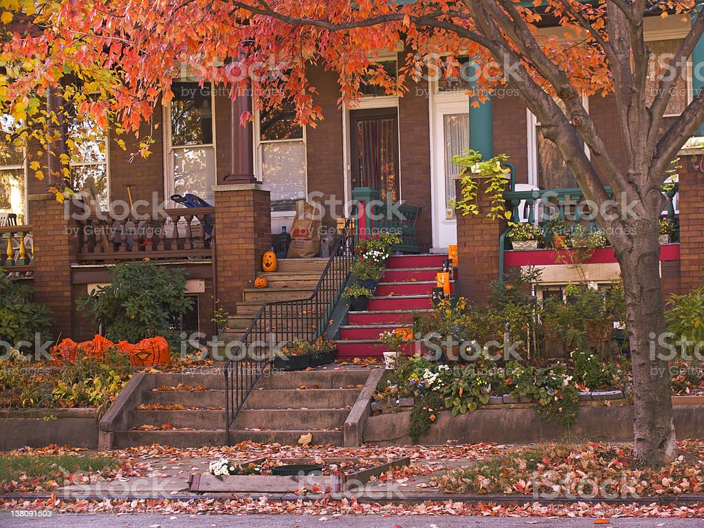 Rowhouse Porches in Autumn stock photo