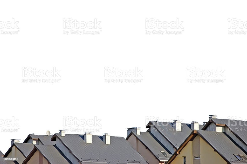 Rowhouse roofs panorama, isolated detailed condo rooftop panoramic, grey, beige stock photo