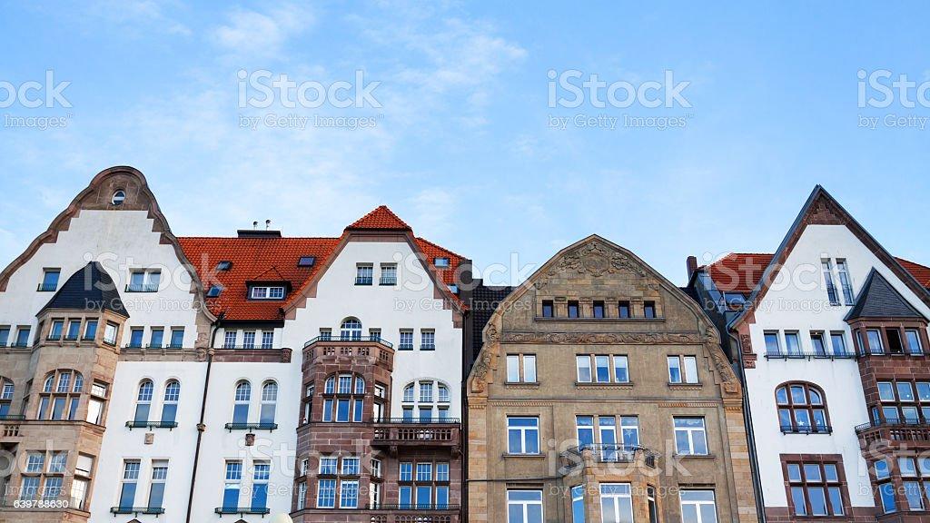 Rowhouses at Rhine and promenade in Düsseldorf stock photo