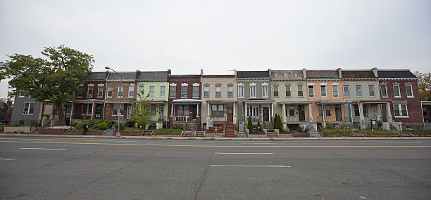 dc rowhouses - terraced houses stock photos and pictures