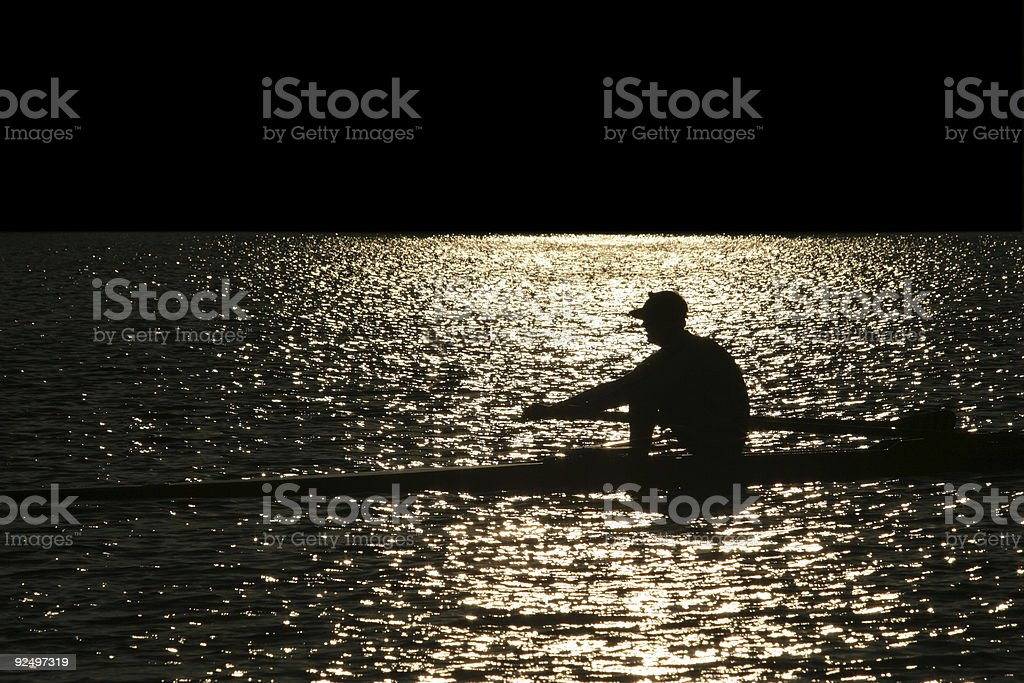 Rowing alone royalty-free stock photo