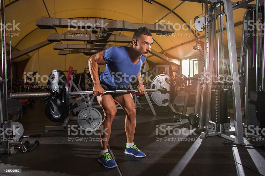 Rowing  Barbell stock photo