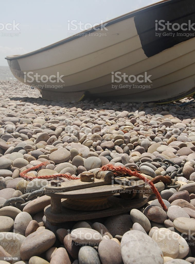 Rowing Boat & Pulley, Devon stock photo