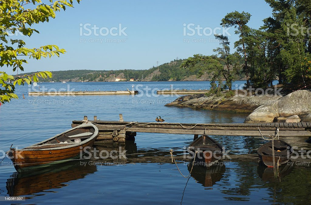 Rowing boat at bridge royalty-free stock photo