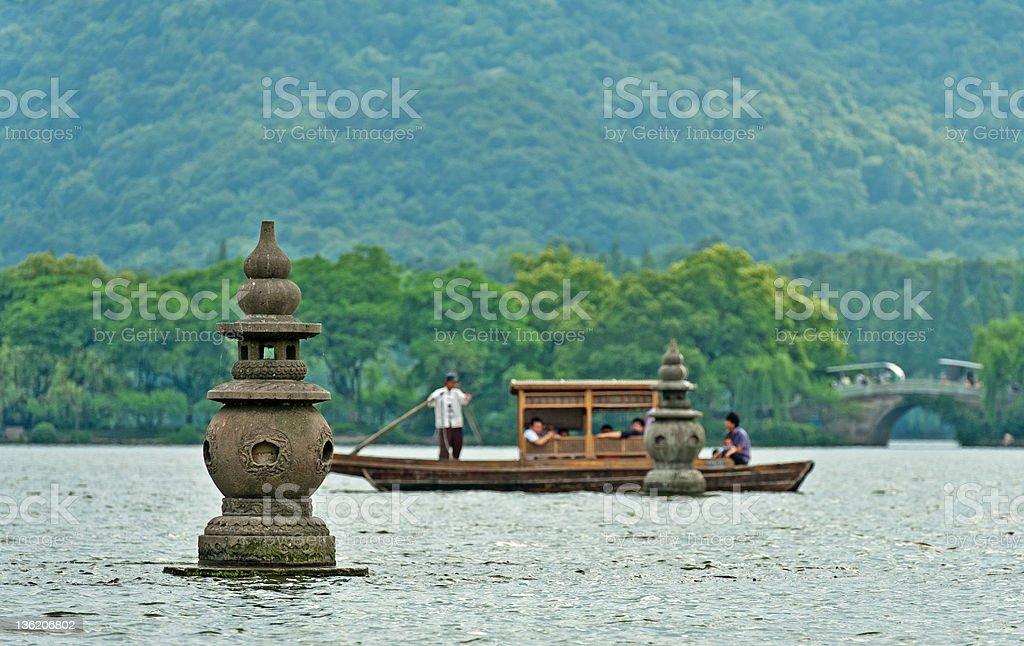 Rowing boat on a lake, China stock photo