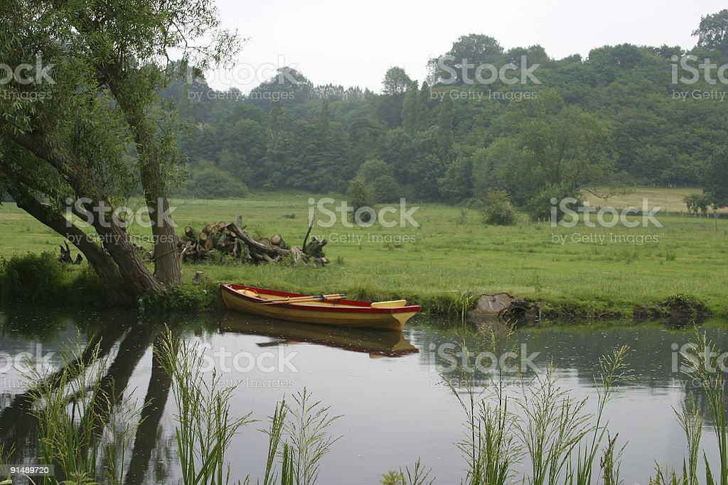Rowing boat on river royalty-free stock photo