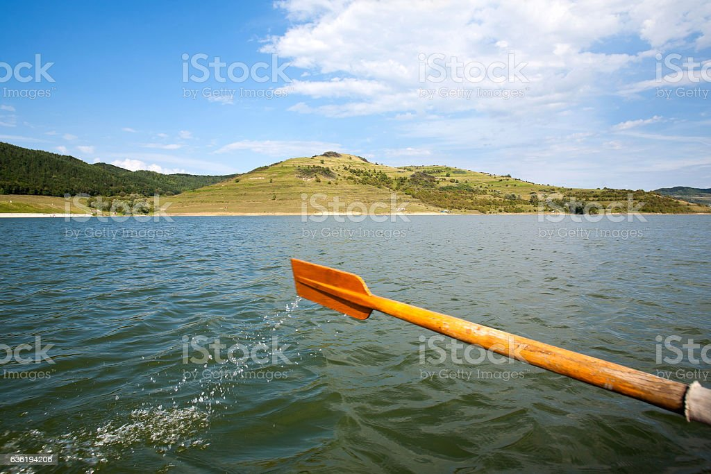 Rowing boat paddle stock photo