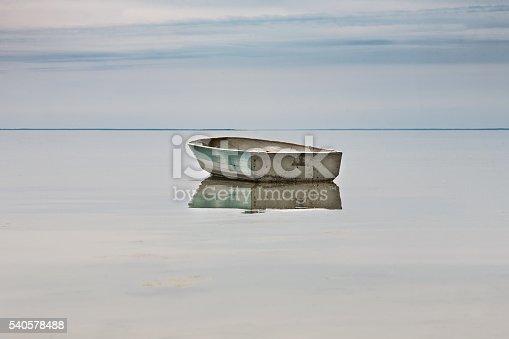 lone rowing boat adrift