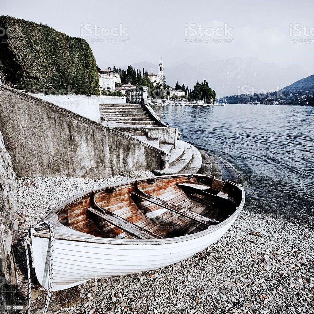 Rowing boat, Tremezzo, Lake Como stock photo