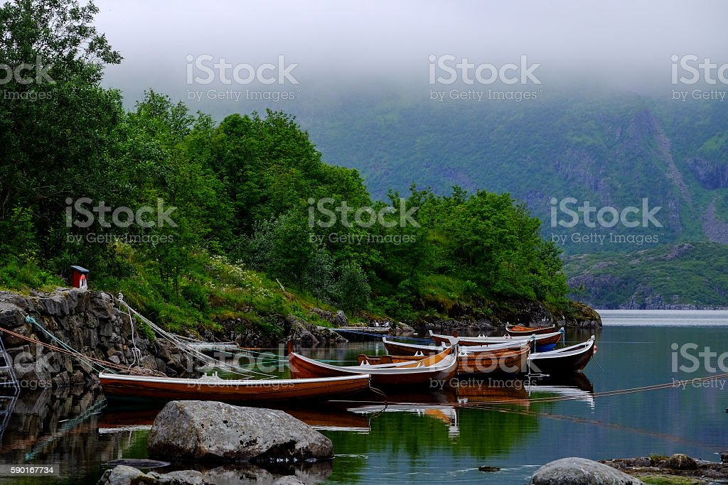 Rowing boats on a line - Royalty-free Bay of Water Stock Photo