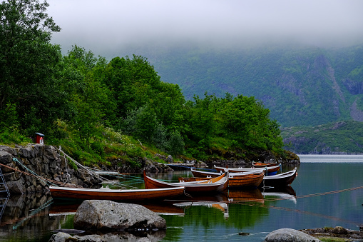 Rowing Boats On A Line Stock Photo - Download Image Now