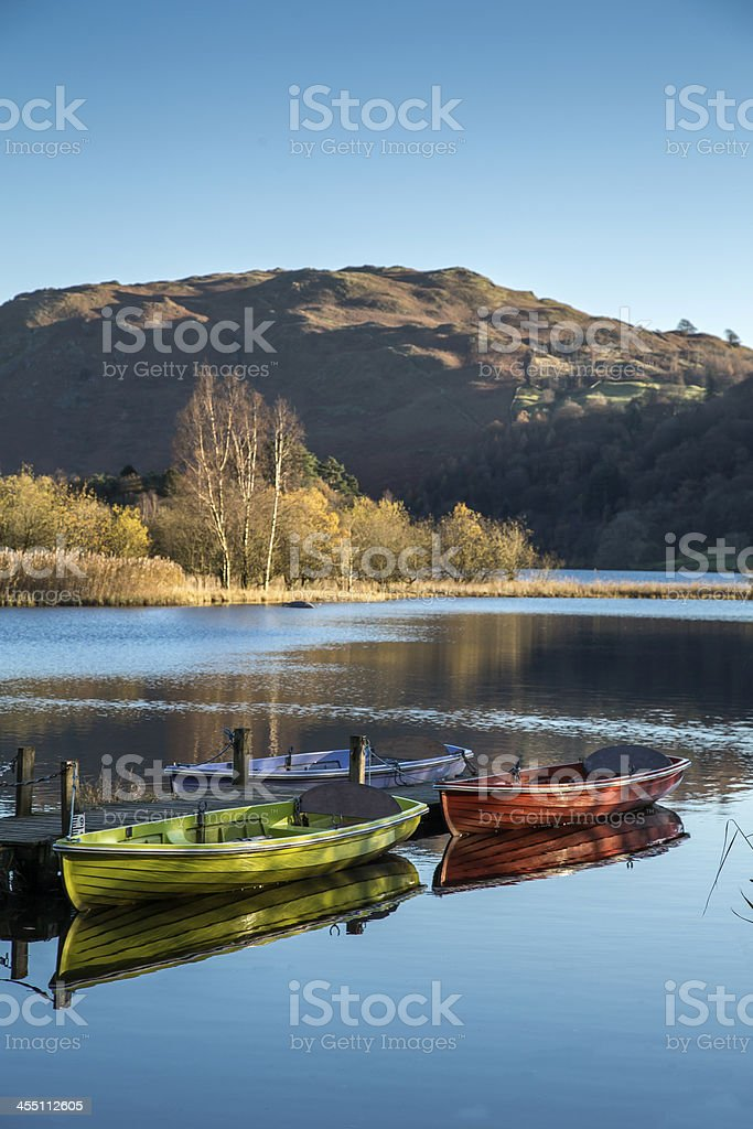 Rowing Boats on Grasmere stock photo