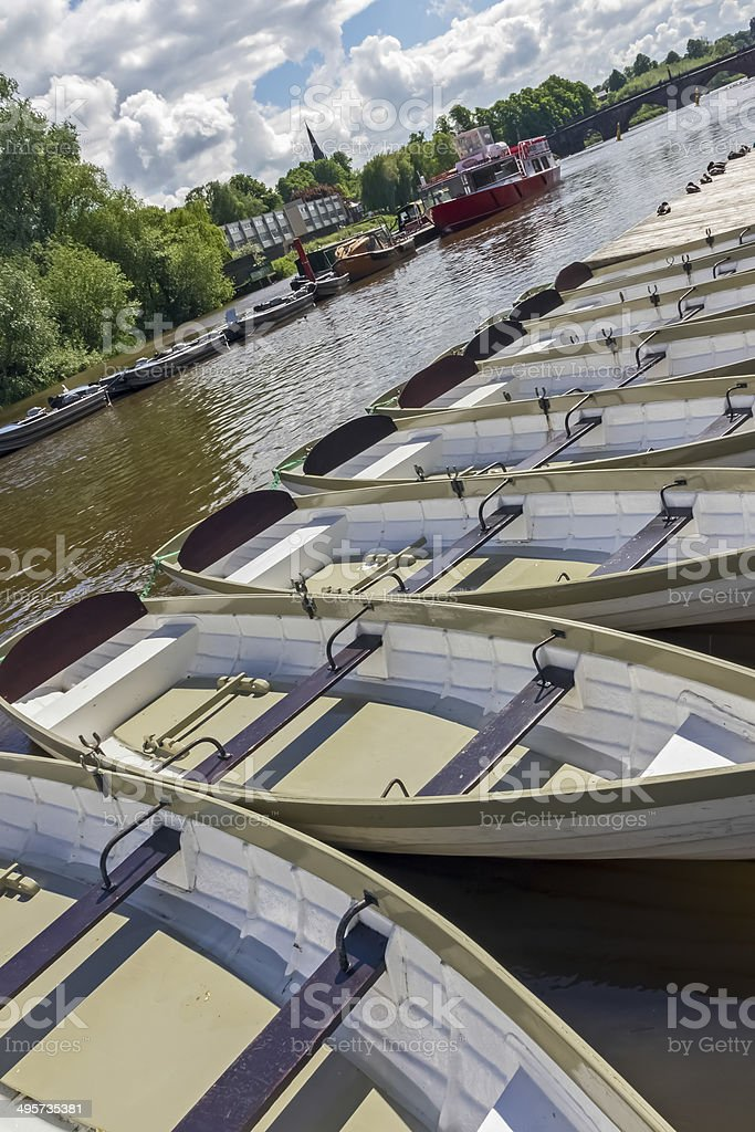 Rowing Boats River Dee Chester stock photo