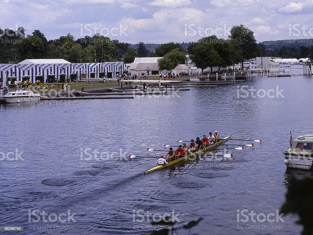 Rowing Eight  at Henley Regatta in Oxfordshire. England royalty-free stock photo