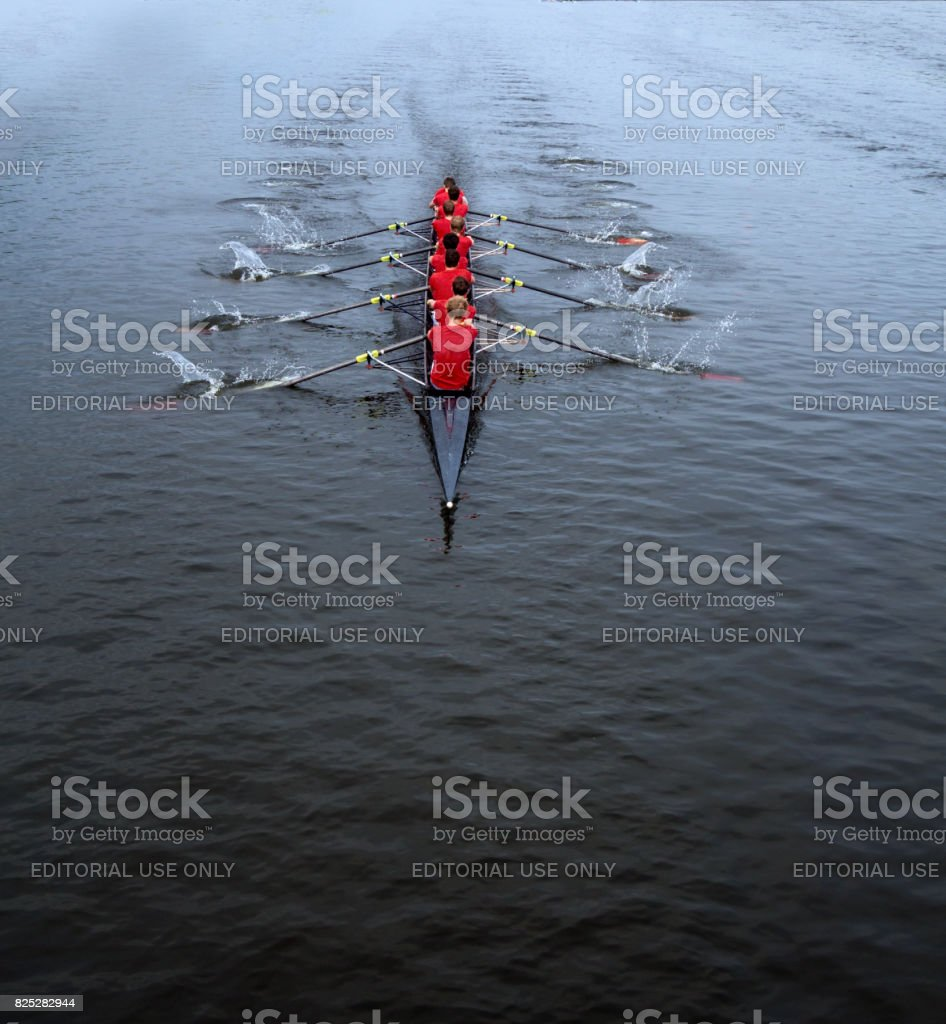 Rowing eight man stock photo