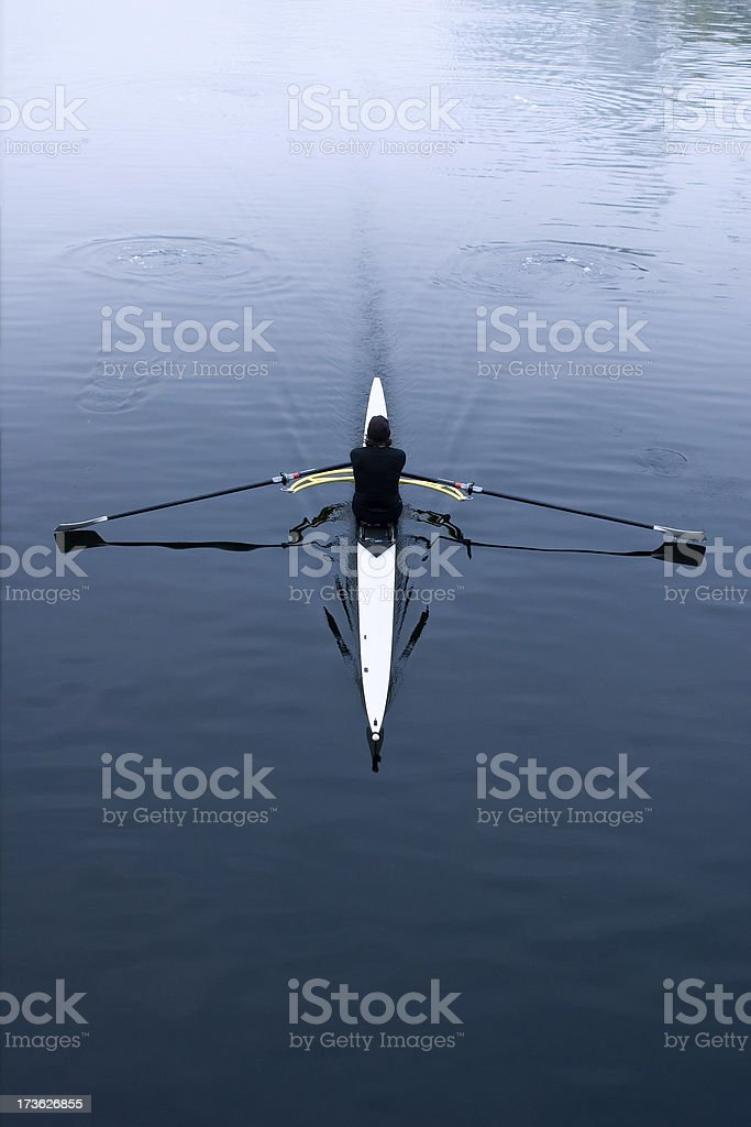 Rowing in a Skiff royalty-free stock photo