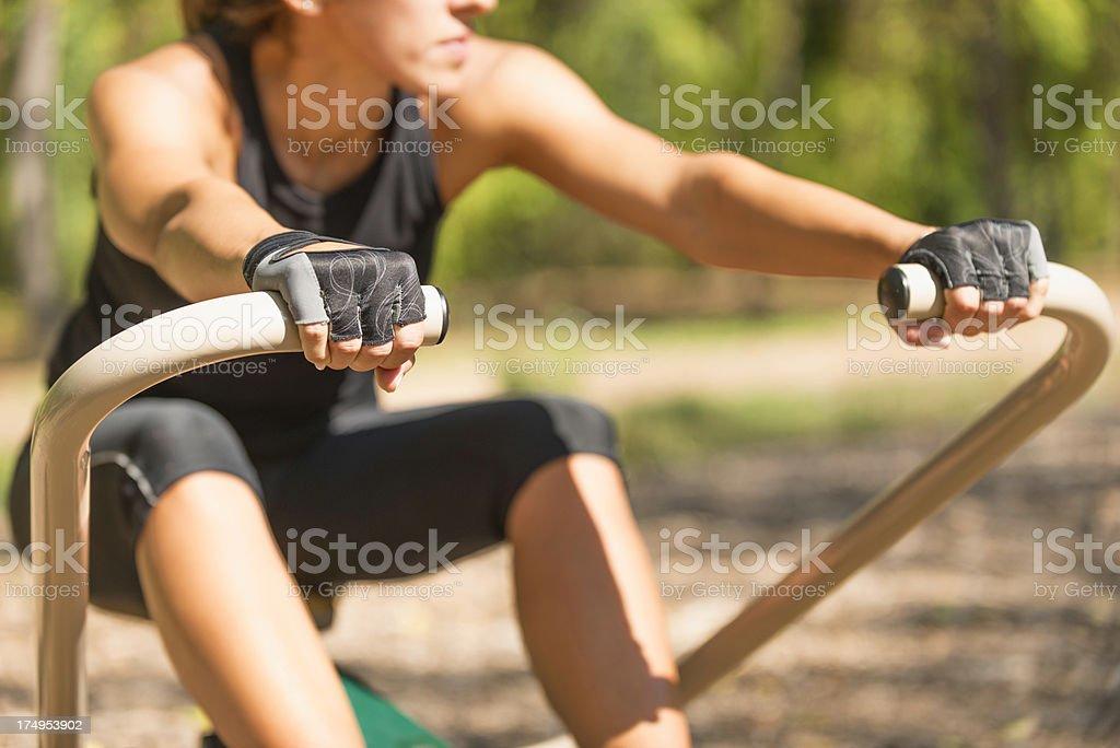 Rowing machine exercise royalty-free stock photo