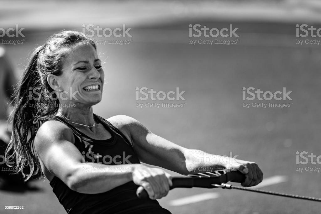 Rowing machine workout stock photo