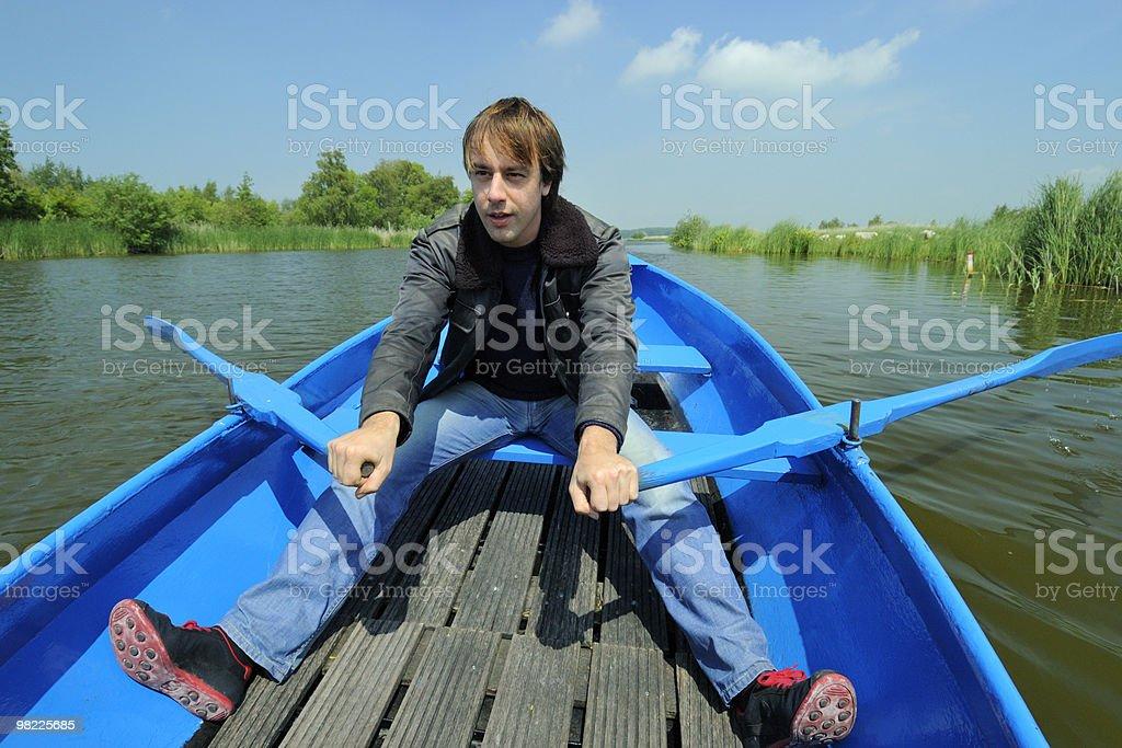 Rowing man royalty-free stock photo