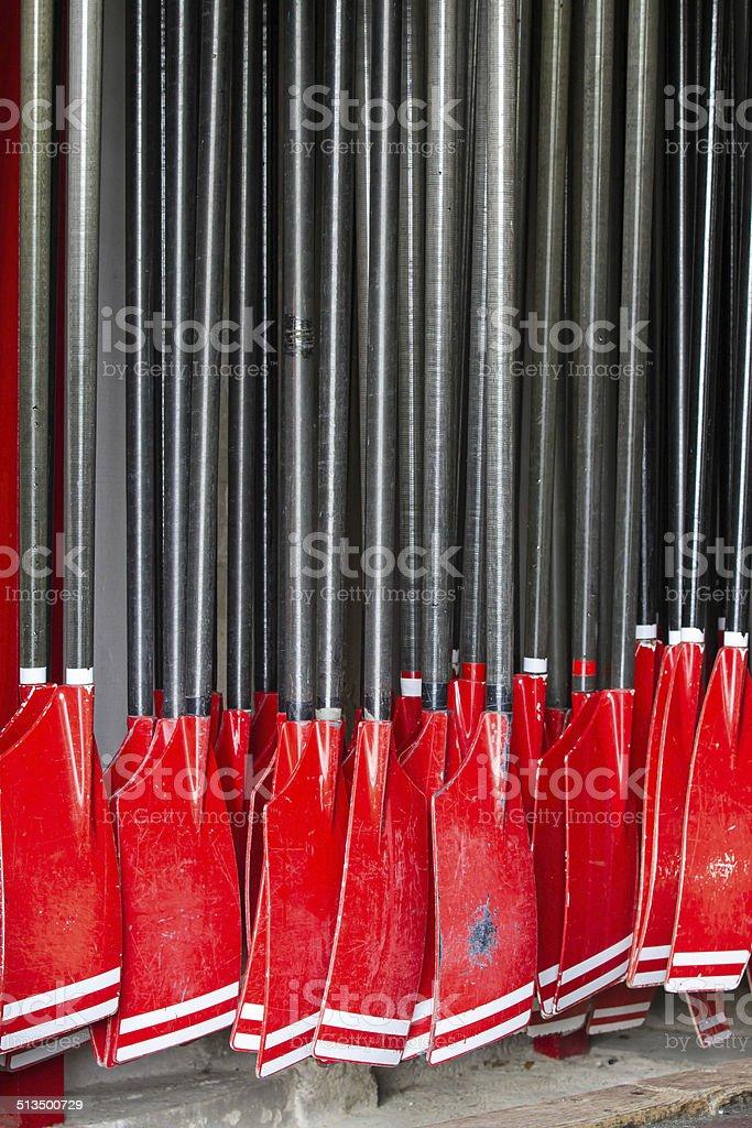 Rowing oars stock photo