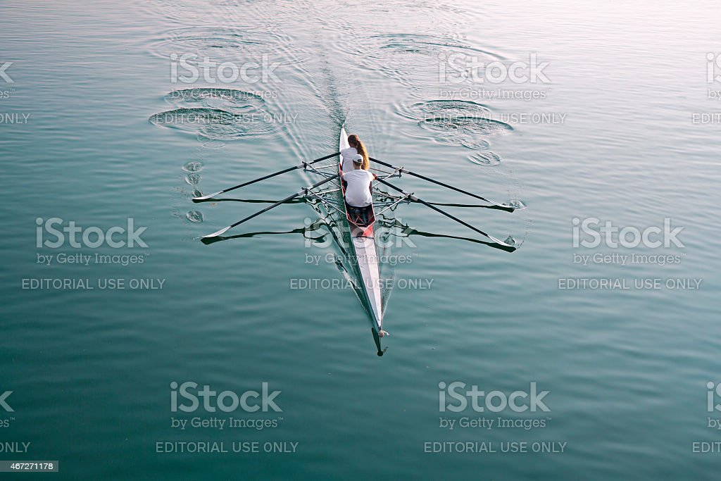 Rowing on the lake stock photo