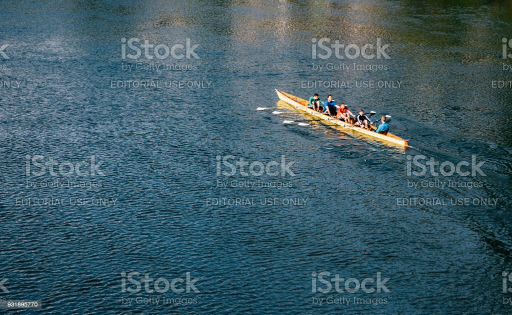 Rowing on the Mosel River in Cochem, Germany stock photo