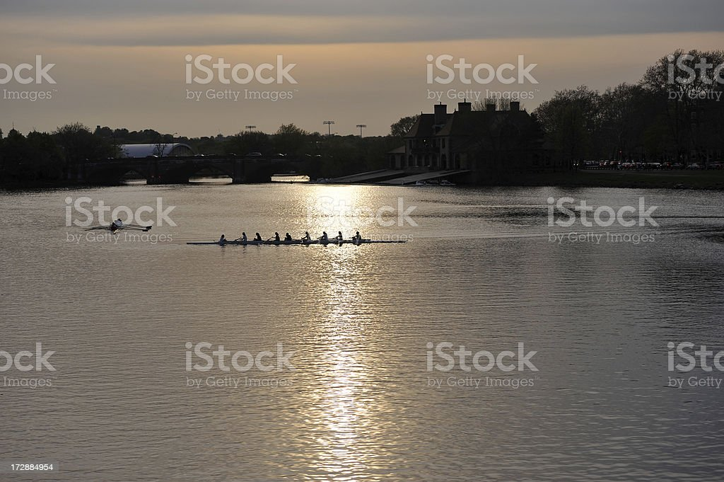 Rowing on the river royalty-free stock photo