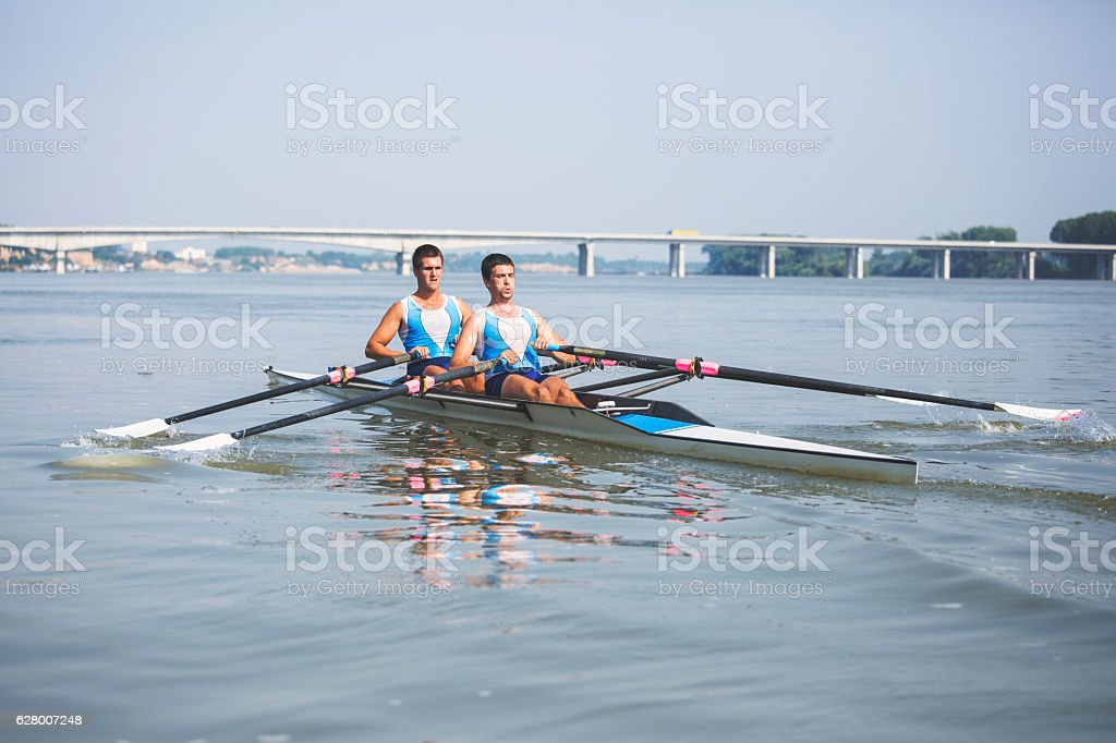 Rowing on the river stock photo