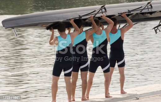 istock Rowing Series - Putting Boat In 172311841