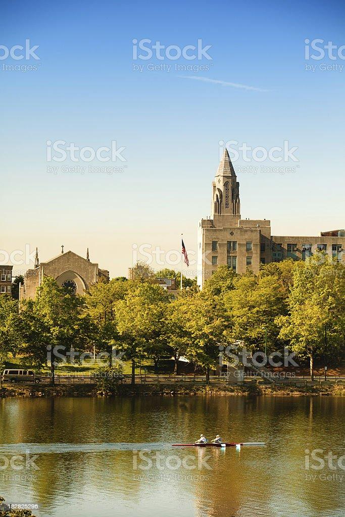 Rowing the Charles River near Harvard University royalty-free stock photo