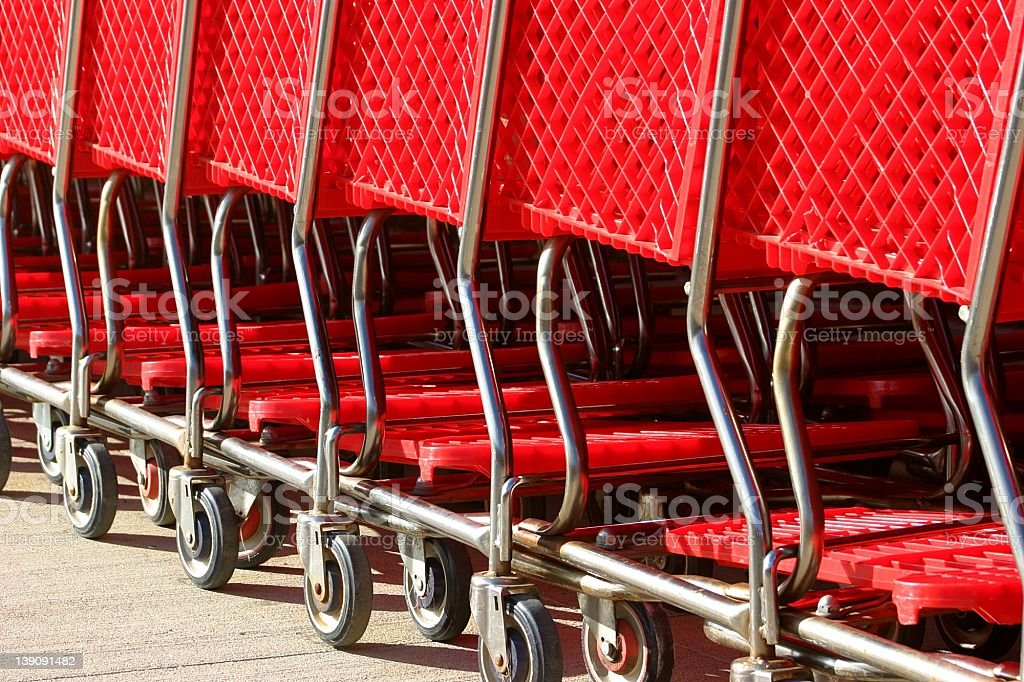 row.of.red.shopping.carts.detail royalty-free stock photo