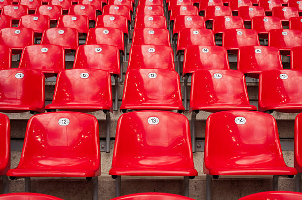 Rows and rows of red stadium seats