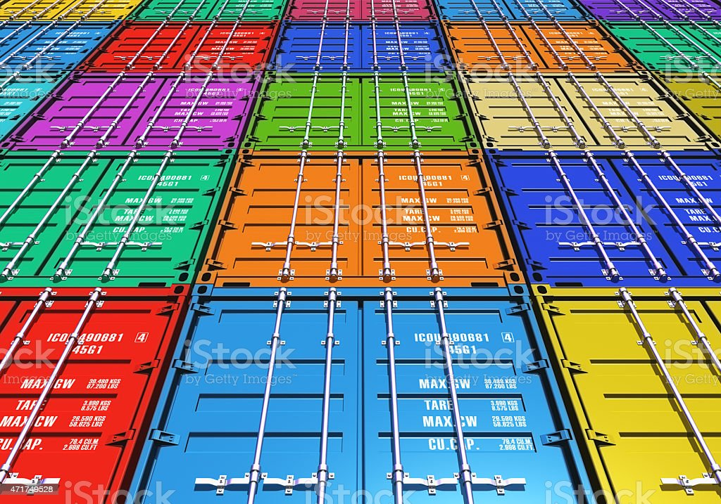 Rows and stacks of colorful cargo containers royalty-free stock photo