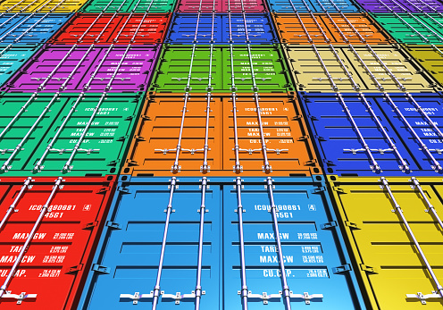 Rows And Stacks Of Colorful Cargo Containers Stock Photo - Download Image Now