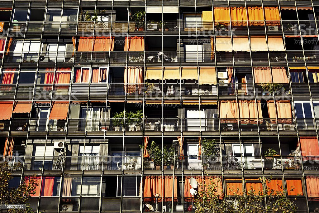 Rows of balconies and windows royalty-free stock photo