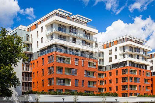889473004 istock photo Rows of balconies in modern colorful complex of apartment buildings 932121232