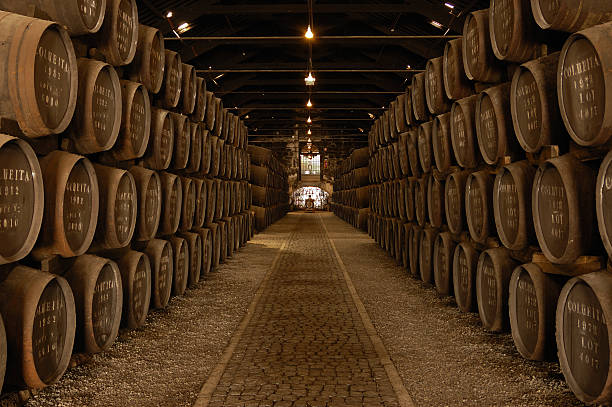 Rows of Barrels in a Large Wine Cellar stock photo