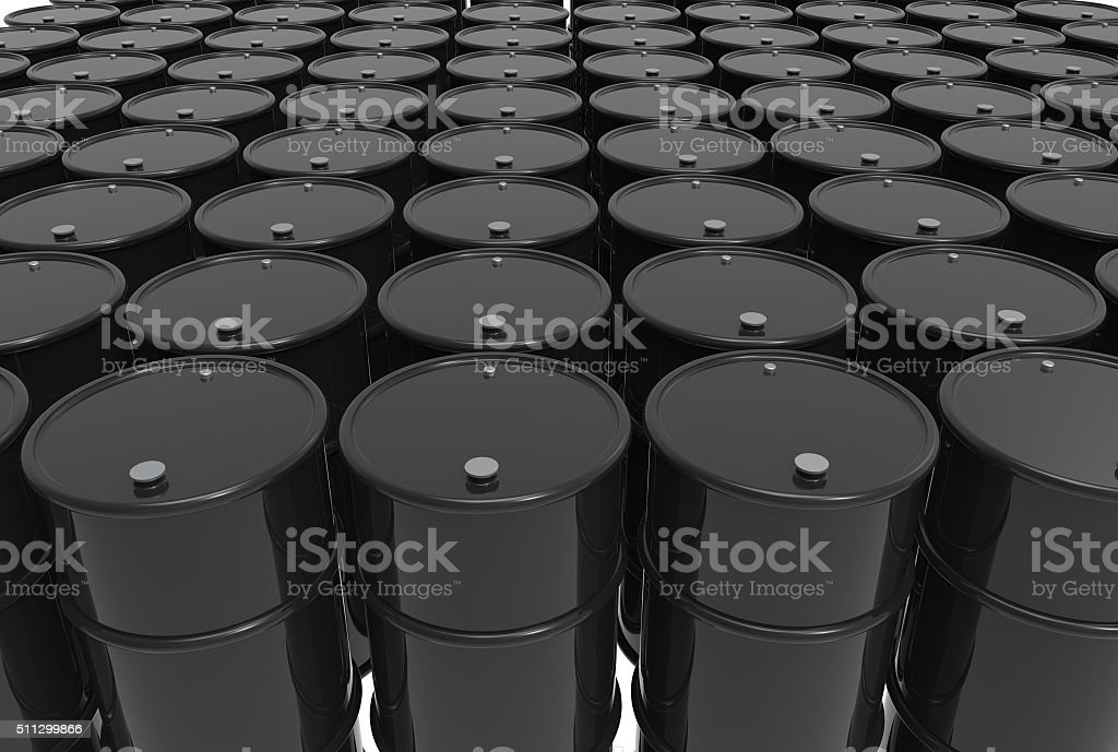 rows of barrels of oil stock photo