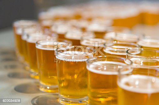 istock Rows of beer samples for tasting 622034928