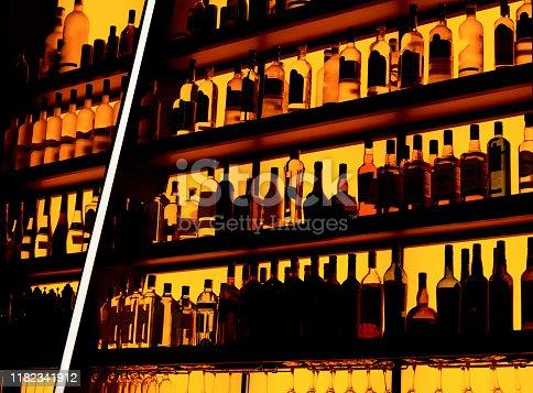 Rows of bottles sitting on shelf in a bar, trademarks deleted, bottle design altered