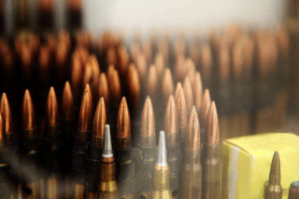 Rows of Bullets Rows of Bullets ammunition stock pictures, royalty-free photos & images