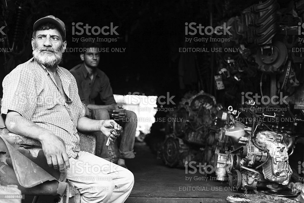Rows of Car Engines Karachi Scrapyard royalty-free stock photo