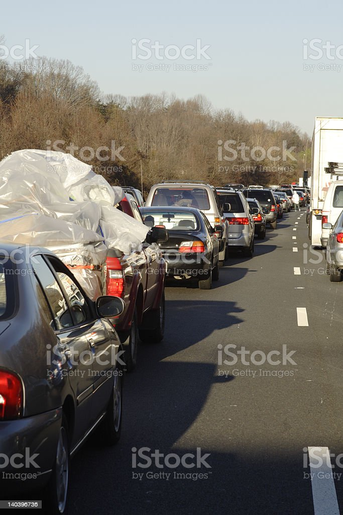 Rows Of Cars Stuck In Traffic On I95 Accident Winter Stock Photo